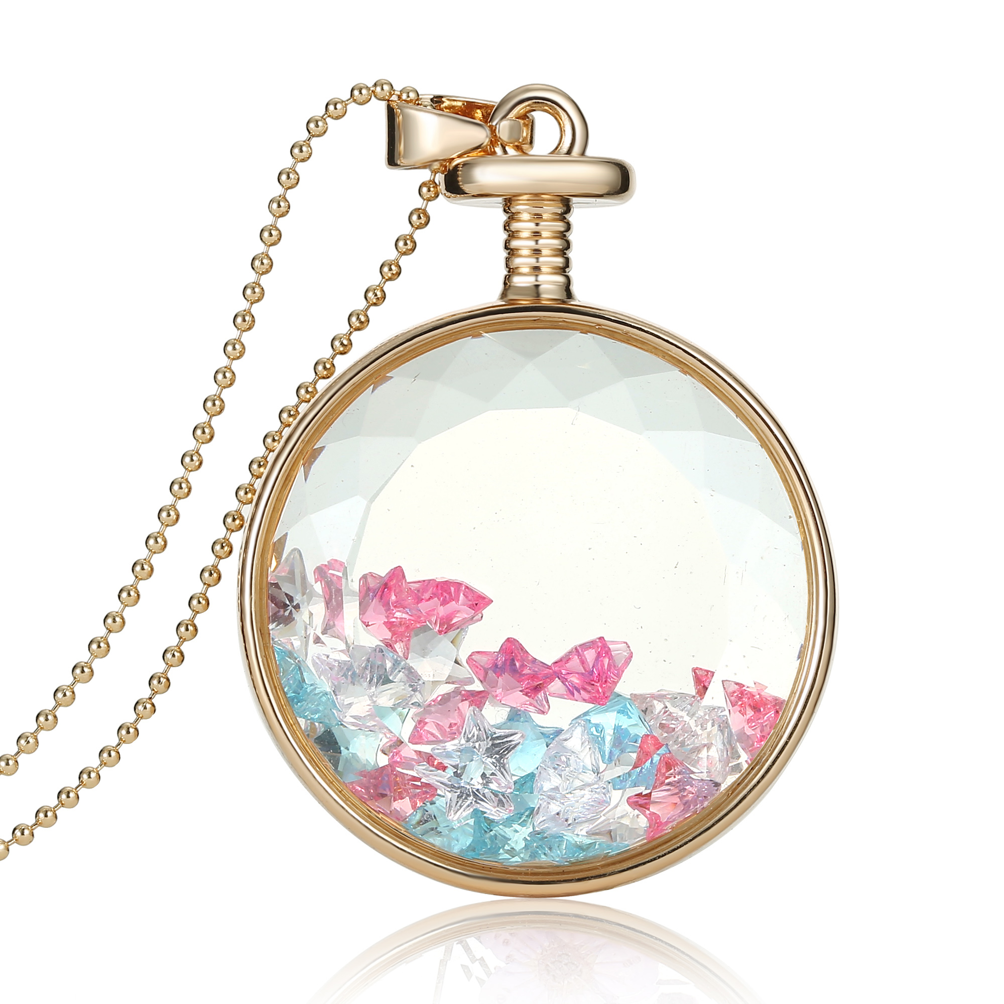 1pcs real dried flower clear glass pendant
