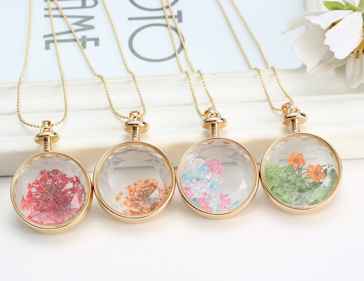 New natural real dried flower round clear glass locket pendant new natural real dried flower round clear glass locket pendant necklace jewelry ebay aloadofball Images