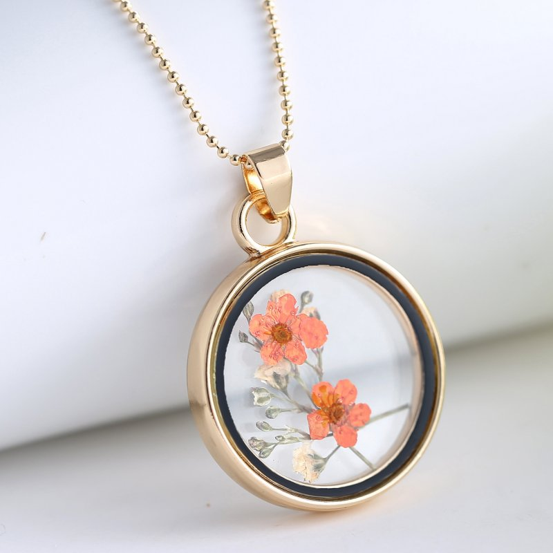 Handmade Natural Dried Flower Inside Glass Locket Necklace Long Sweater Chain