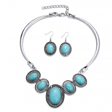 New Fashion Charming Woman Green Gemstone Turquoise Oval Necklace Earrings Jewelry Set