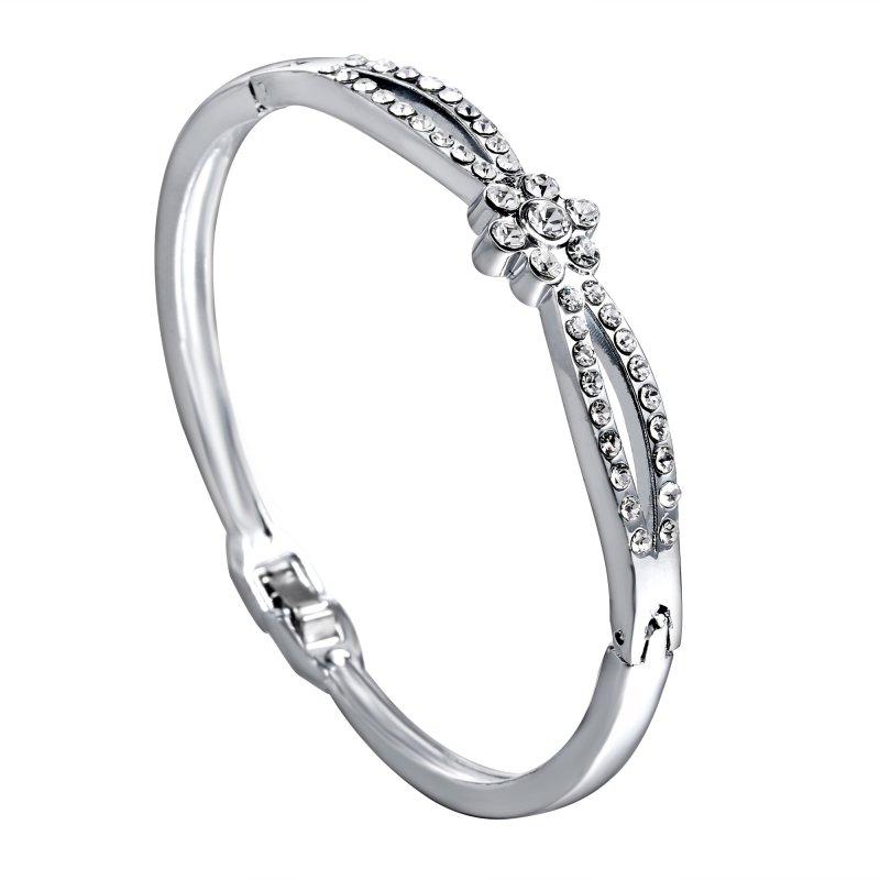 Fashion Jewelry Crystal Rhinestone Love Bracelet Bangle Cuff Charm Women's Gift