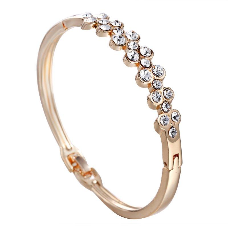 New Women Fashion Style Gold Rhinestone Love Heart Bangle ...
