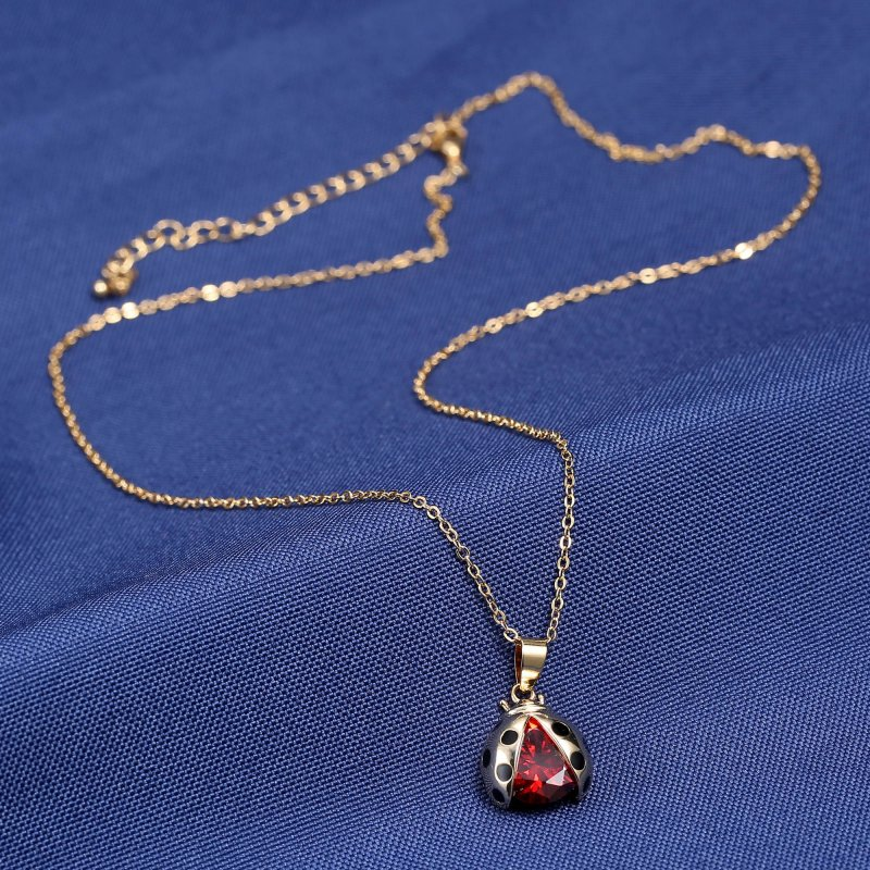 Cute Lady Bird Beetle Bug Pendant Chain Necklace Charm Cubic Zircona Women Gifts