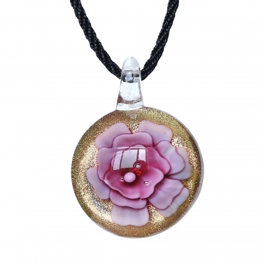 Stunning Fashion Jewelry Coloured Glaze Round Flower Black Rope Pendant Necklace