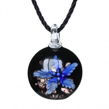 New Fashion Jewelry Woman Man Round Flower Coloured Glaze Pendant Necklace