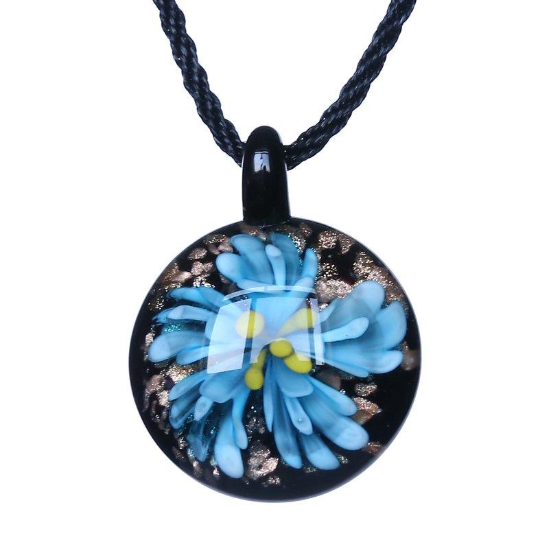 Noble Gifts Handmade Gold Dust Lampwork Glass Bead Art Necklace Pendant Flower