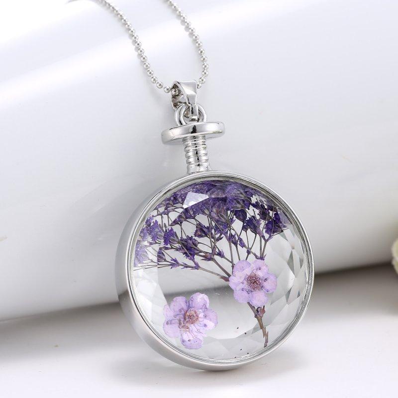 Luxury Purple Dried Real Flower Clear Glass Locket Pendant