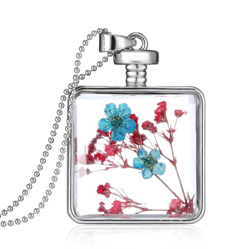 1P Dried Square Real Flowers Glass Current Bottle Living Memory Pendant Necklace