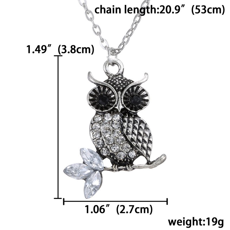 23 styles Fashion Owl Necklace Pendant Chain Crystal Charm Jewelry Men Women HOT