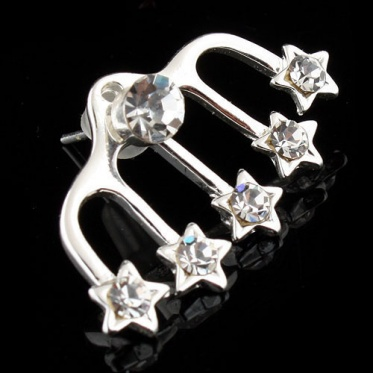 Fashion Woman Jewelry Five Claws Star Heart Round Rhinestone Earrings Ear Stud