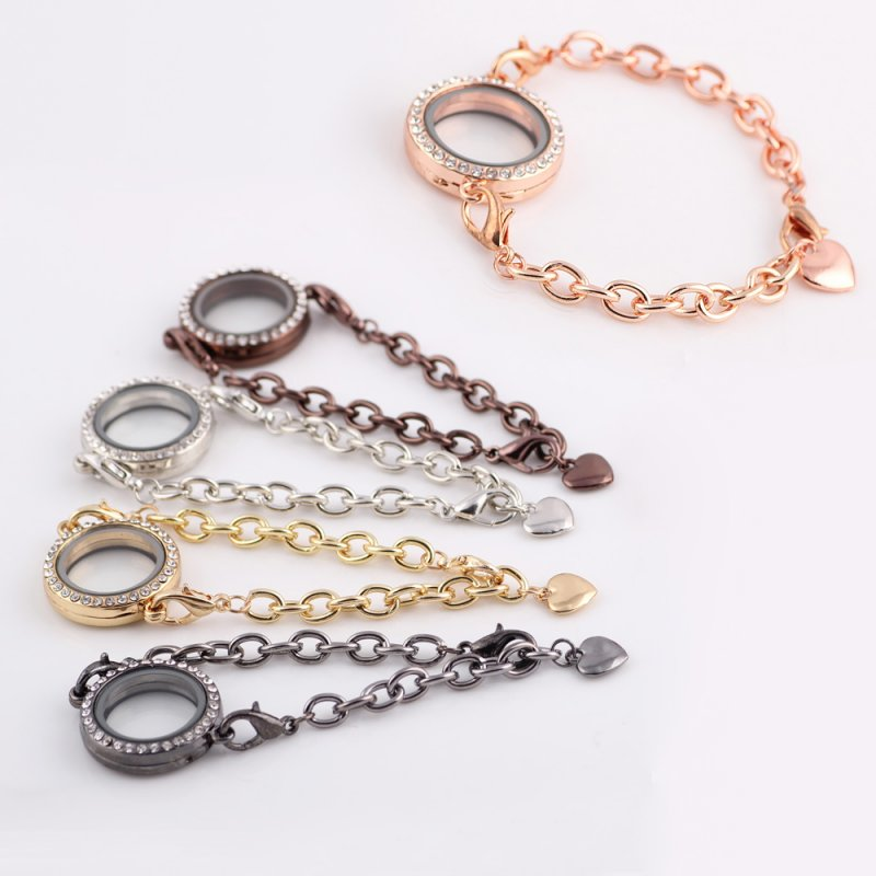 Memory Charm Bracelets: DIY Vogue Crystal Living Memory Locket Bracelet For