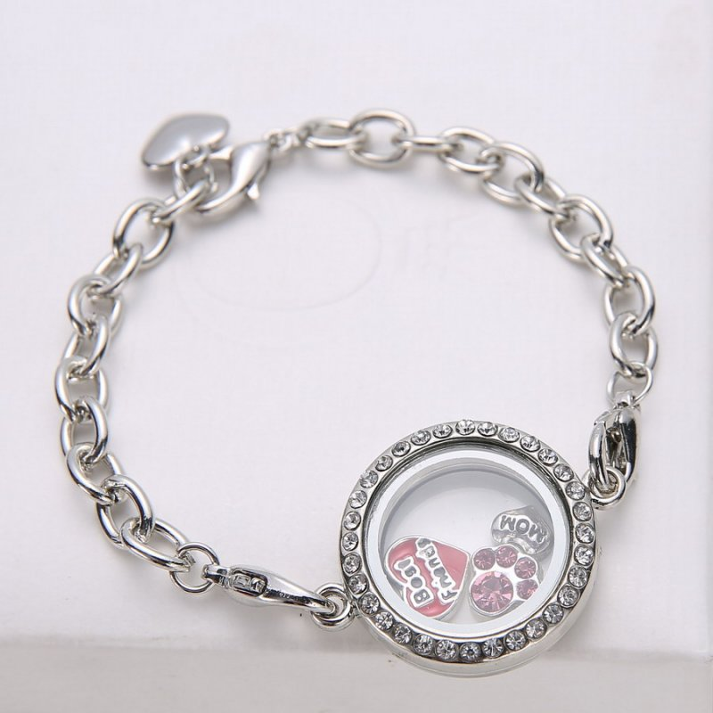 New Charm Bracelets: New Magnetic Crystal Living Memory Round Locket Bracelet