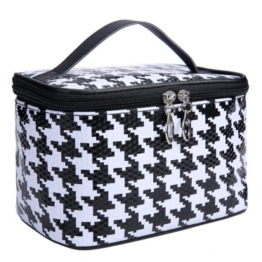 Fad Girl Houndstooth Cosmetic Bags Beauty Box Pouch Makeup Portable Case Cabinet
