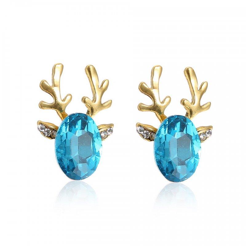 Fashion Women Crystal Snowflake Reindeer Ear Stud Earrings Christmas Xmas Gifts