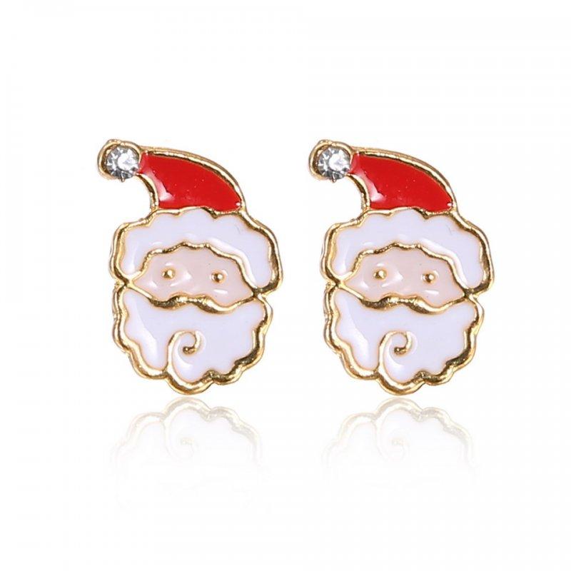Fashion Crystal Snowflake Deer Bell Ear Stud Earrings Christmas Xmas Women Gifts