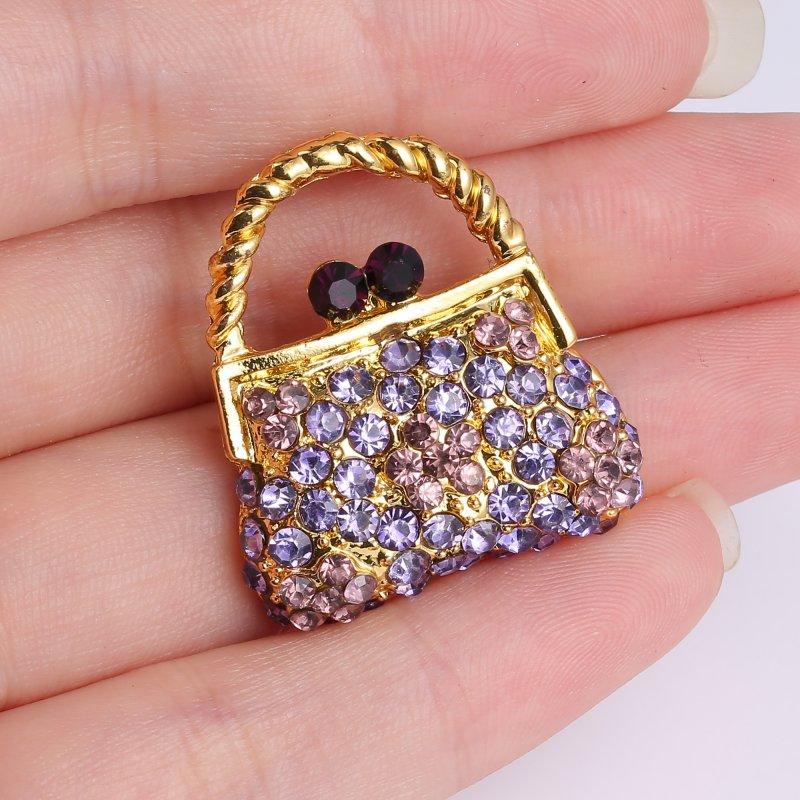 Fashion Crystal Handbag Rhinestone Brooch Pin Gold Plated Charm Women Jewelry