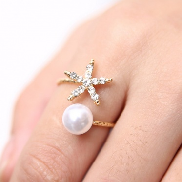 New Simple Fashion Woman Lady Jewelry Rhinestone Pearl Gold Plated Open Ring