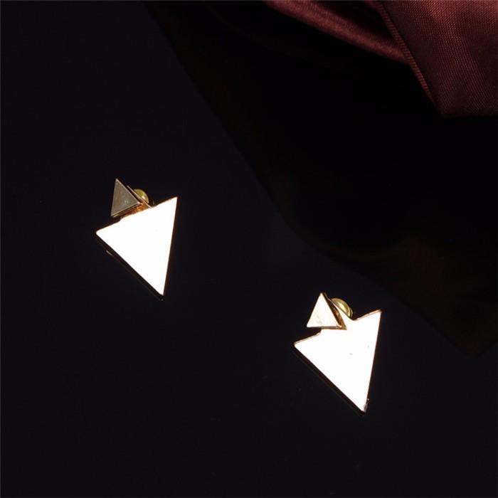 Fashion Women Simple Geometric Figure Triangle Gold Silver Ear Stud Earrings Hot