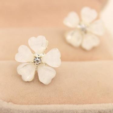 Hot Fashion Woman Lady Elegant Jewelry Rhinestone Sakura Earrings Ear Stud