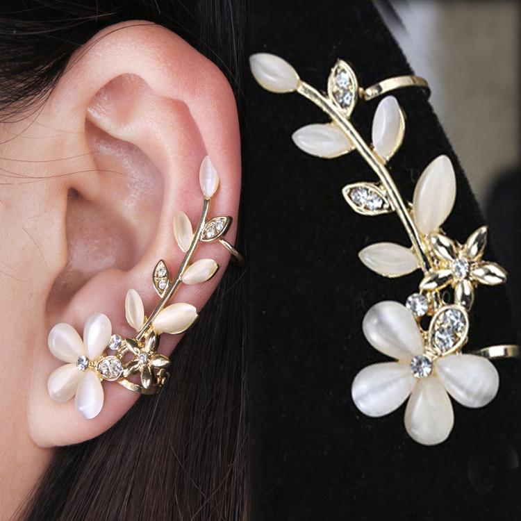 fashion rock leaf chain tassel dangle ear cuff