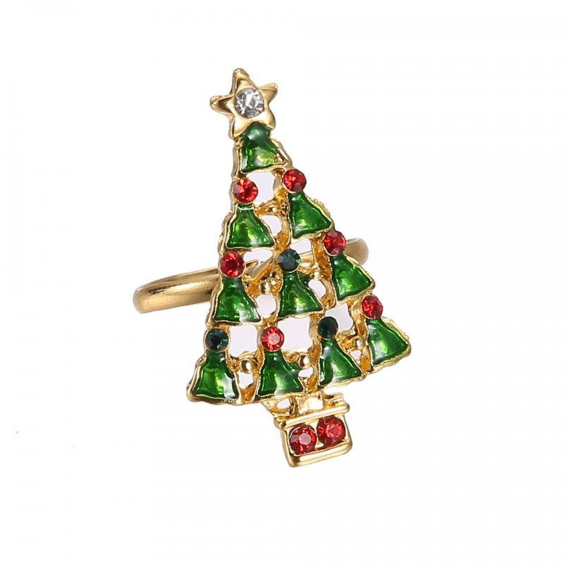Handmade Rings Christmas Santa Claus Tree Snowman Lucky Deer Gold Ring Jewellery