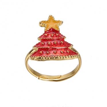 Hot Popular Christmas Jewelry Cartoon Rhinestone Tree Deer Bow Ring Adjustable