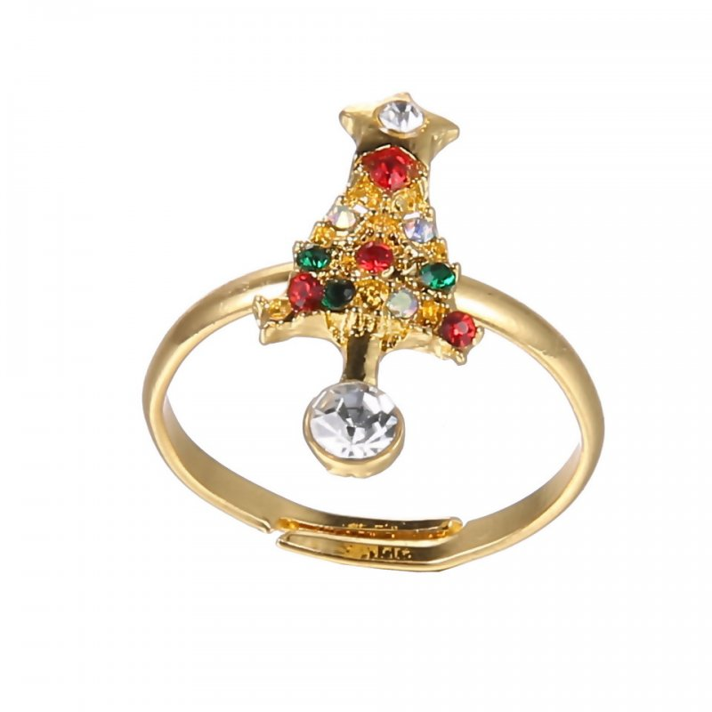 Tree snowman deer gold ring girl boy xmas rhinestone