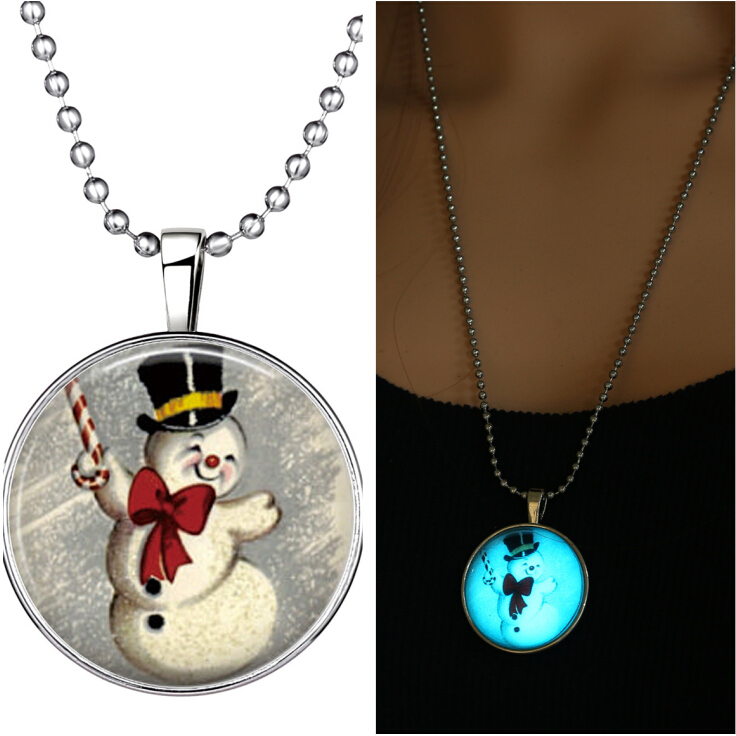 Lucky fairy snowman santa claus glow in the dark pendant