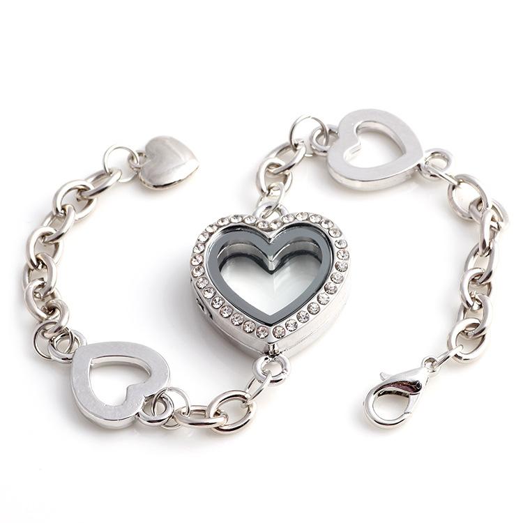 Memory Charm Bracelets: Charm Magnetic Living Memory Glass Crystal Heart Locket
