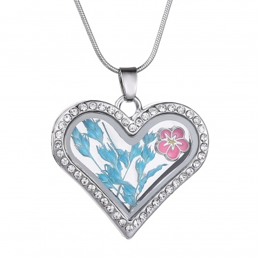 New Fashion Jewelry Dried Flower Rhinestone Love Heart/Round Locket Pendant Necklace
