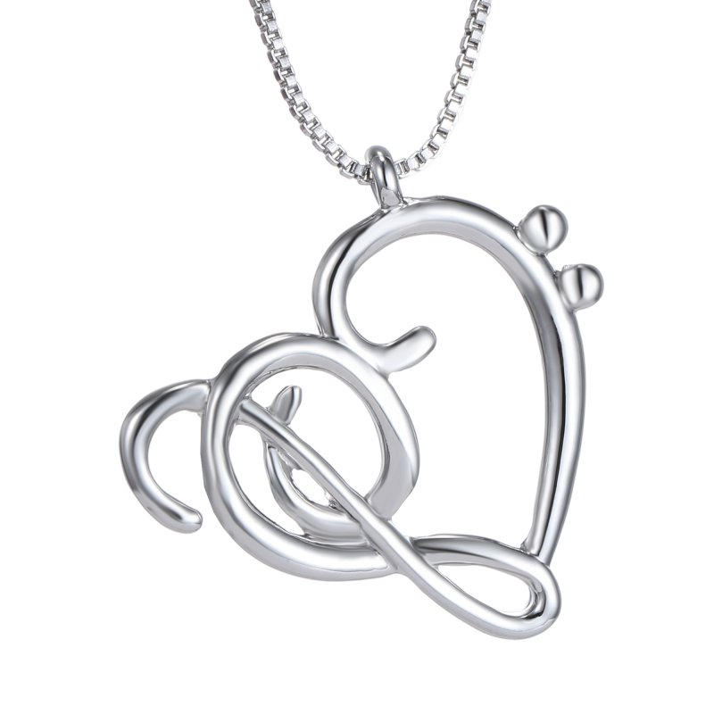 Lover Family Gift Crystal New Lady Silver Infinity Heart Music Pendant Necklace