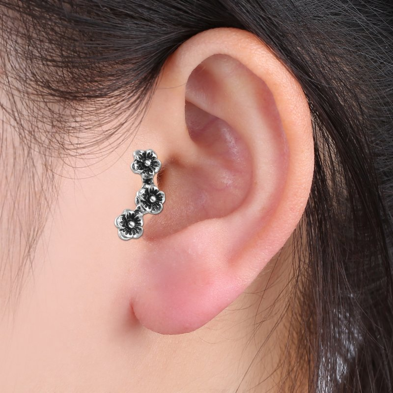 Fashion chic cartilage earrings ear stud climber three for Helix piercing jewelry canada