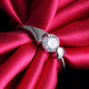 New Fashion Woman Lady Elegant Jewelry Zircon Silver Love Heart Ring