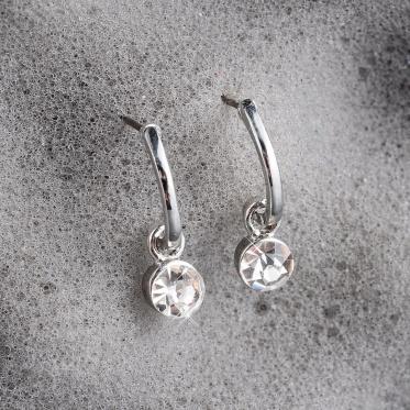Hot Simple Fashion Woman Jewelry Zircon Geometric Gold Silver Ear Stud Earrings