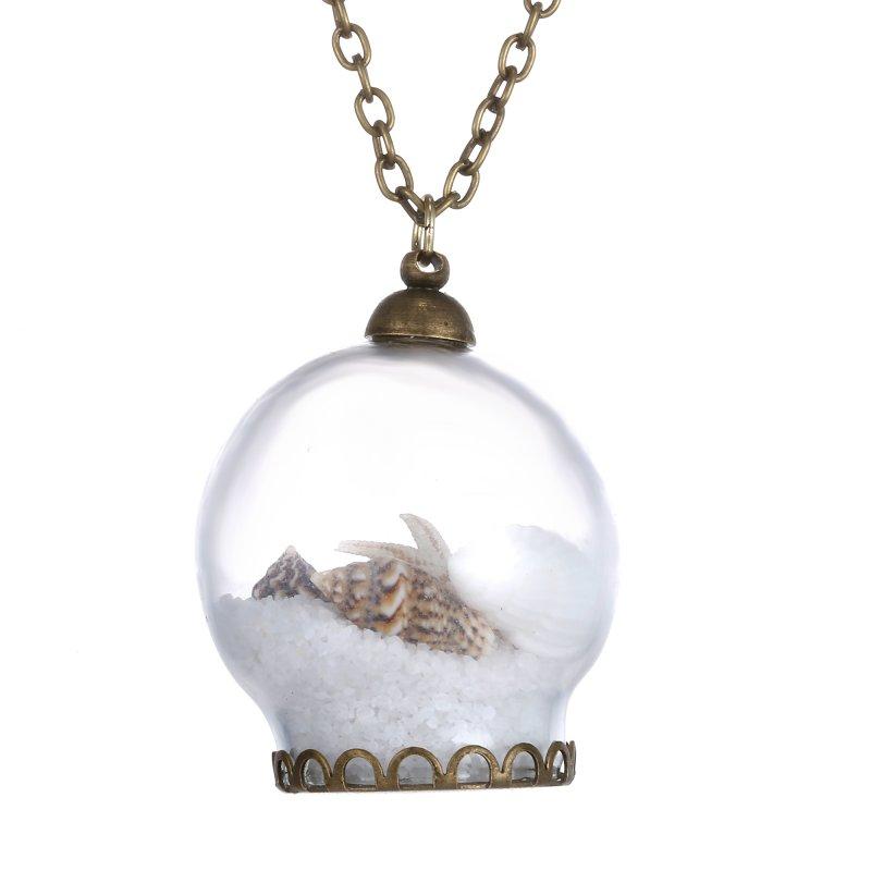 Chic Handmade Starfish Conch Glass Bottle Heart Key Chain Round Necklace Pendant