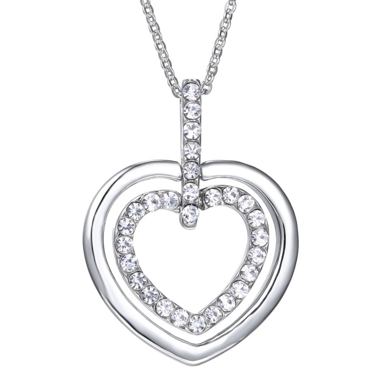 Fashion Jewelry Love Heart Cross Statement Choker Crystal Pendant Chain Necklace