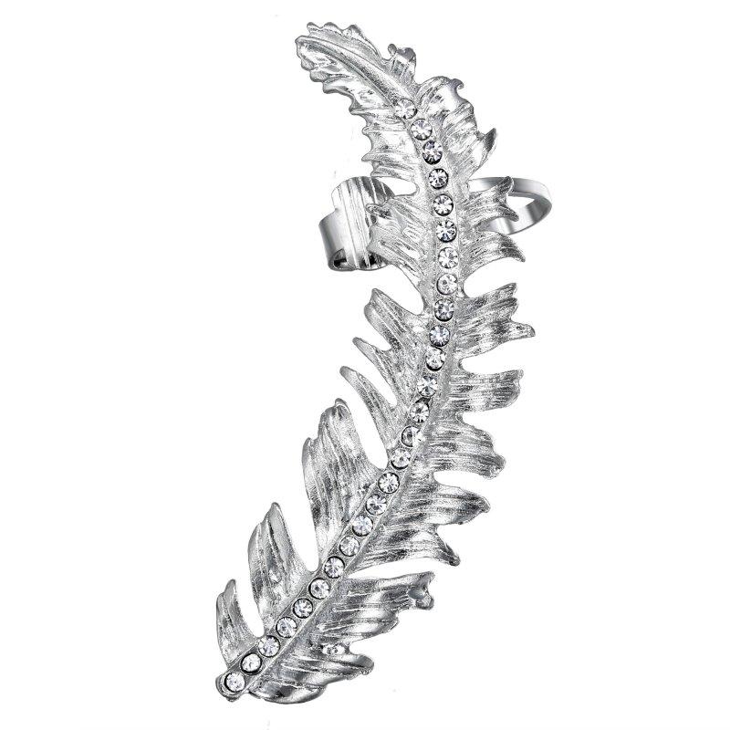 Punk Women Gothic Rock Flower Crystal Rhinestone Clip On Cuff Wrap Stud Earrings