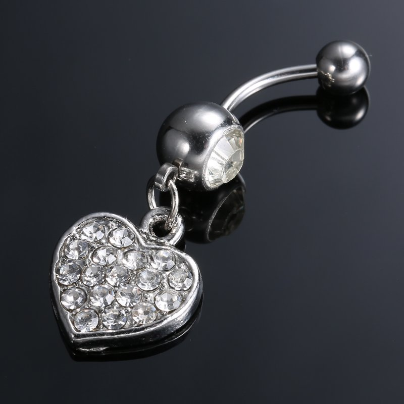 stainless steel dangle navel belly crystal button bar ring