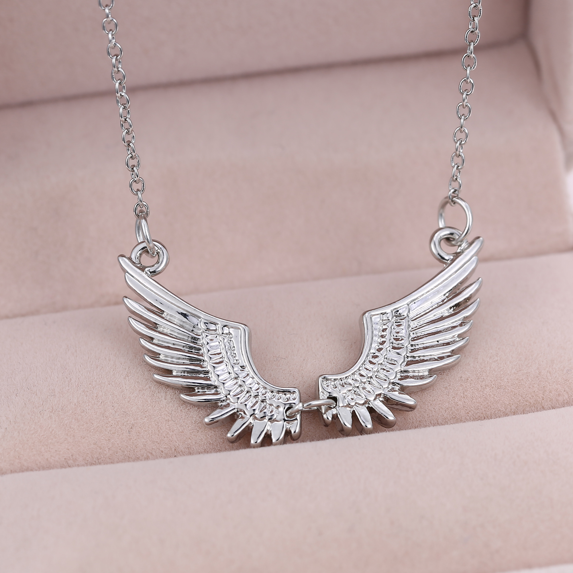 fashion women silver angel wing white gold plated necklace. Black Bedroom Furniture Sets. Home Design Ideas