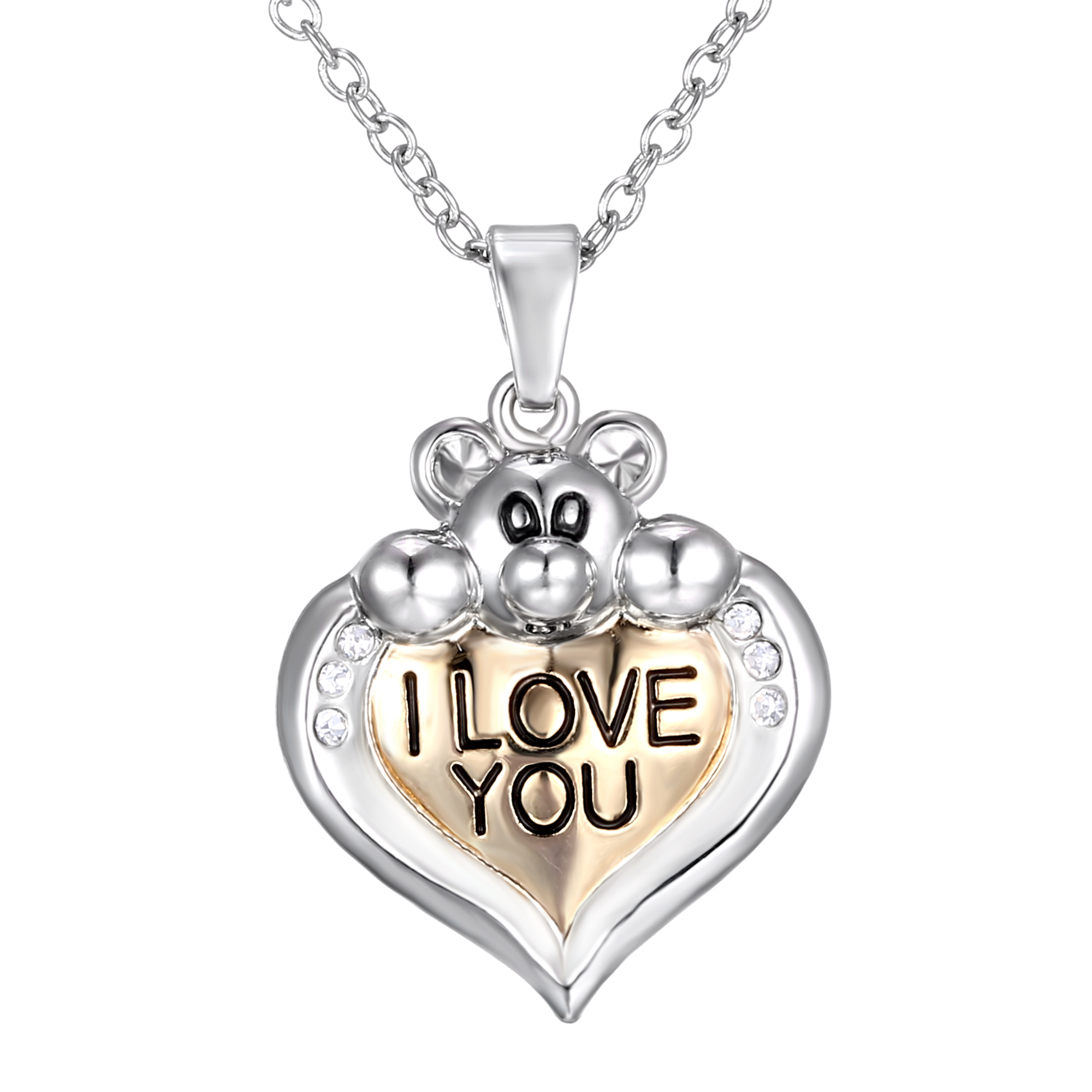 new family lover gift heart i love you mom silver chain