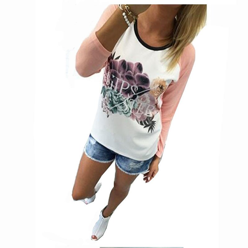 Womens Floral Print Summer Casual Tops Blouse Casual Long Sleeve White T-Shirt
