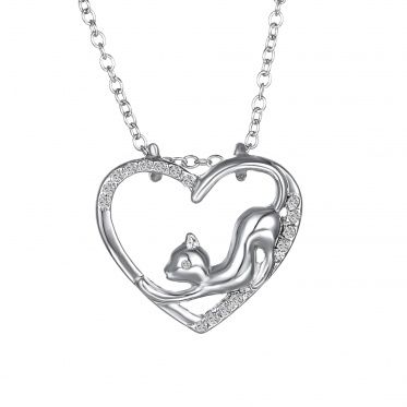 Nice Unisex Jewelry White Gold Cute Cat Shape Pendant Necklace Long Chain Gift Party