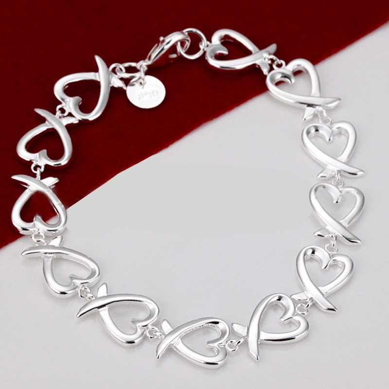 New Charm Bracelets: New Fashion Women Silver Crystal Chain Heart Cuff Charm