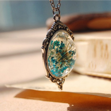 Hot Woman Handmake Dried Flowers Series Bottle Glass Pendant Necklace Jewelry