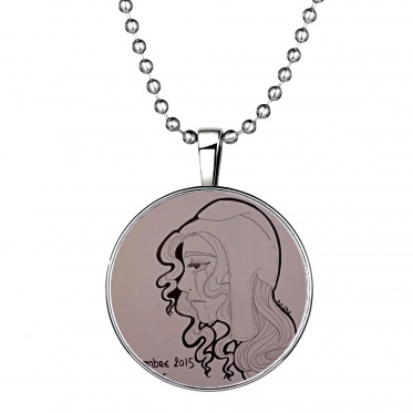 Fashion Round Woman Shape Glowing Pendant Necklace Stainless Steel Chain Gift