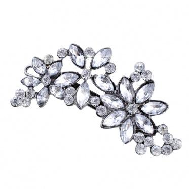 Korea Hair Ornaments Retro Flower Rhinestone Hairpin Hair Clip Side Hair Accessories Headress