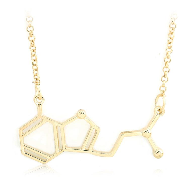 Dopamine Molecule Necklace: Minimalist Chemical Molecular Formula Dopamine Serotonin