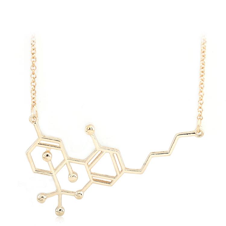 Dopamine Molecule Necklace: Hot Serotonin Dopamine Molecular Formula Science Pendant