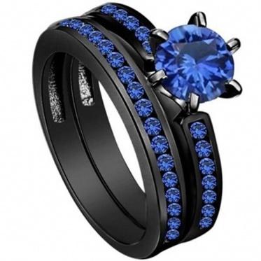 New Fashion Women Black Gold Round Couple Blue Zircon Ring Wedding Jewelry