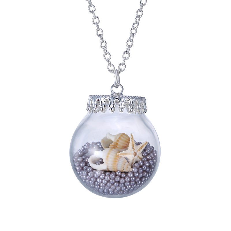 Conch Pearl Necklace: Handmade Seastar Conch Pearl Wish Bottle Glass Vial Chain